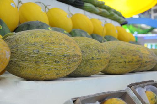 超市货架摆放的佛罗镇哈密瓜(图)